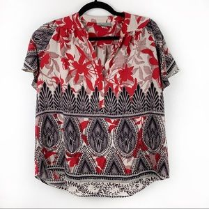 MAEVE Red Black Floral Blouse Short Sleeve Buttons